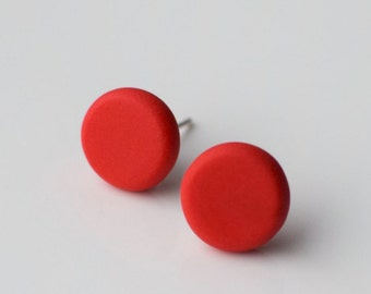 Red circle studs