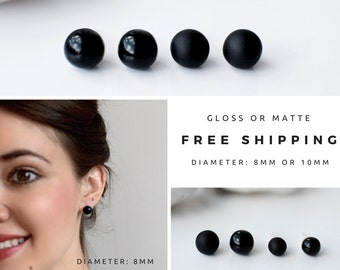 Black studs, Matte black earrings, Earrings for men, Unisex, Matte black studs, Round studs, Black stud earrings, Mens earrings, Ball studs