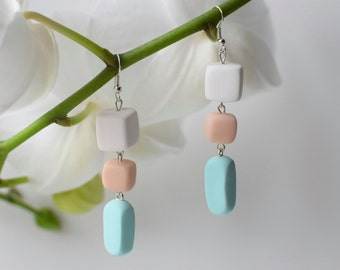 Mint Dangle earrings, Pastel Drop earrings, Beaded jewelry, Geometric earrings, Mint Long earrings, Dangling earrings, Polymer clay earrings