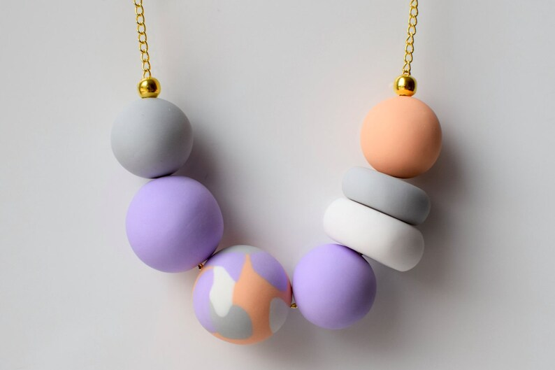 Elegant Chunky necklace Bead necklace Modern jewelry Pastel necklace Violet beaded necklace Bead jewelry Colorful jewelry Gift