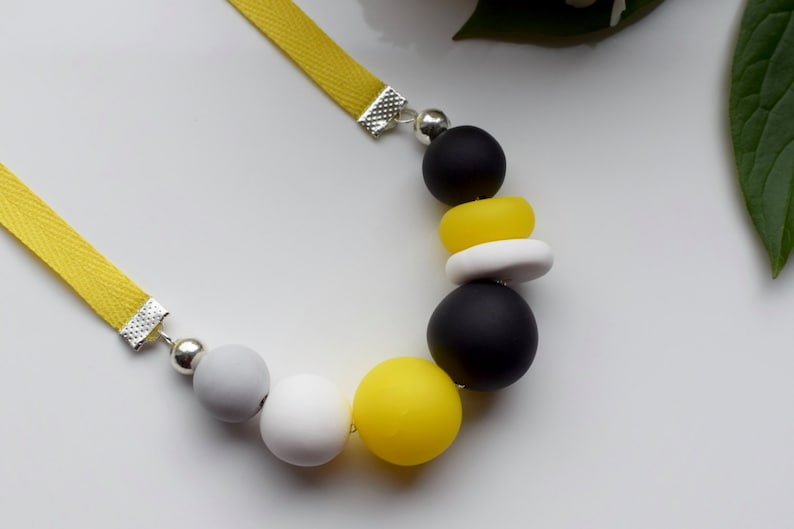 Modern bead necklace Round necklace Yellow beaded necklace Polymer clay Ribbon statement necklace Yellow chunky necklace Urban jewelry