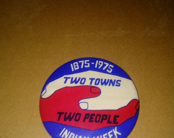 1975 Indian Week Pro Native American Pinback Button Super Scarce 4 Inch Social Message