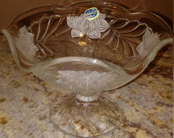 RARE Bohemia Glass  Etched flower vintage candy dish