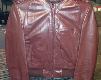 Vintage red womens leather motorcycle jacket