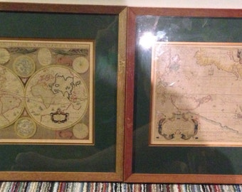 Pair of antique map prints framed very early as seen by paper type and aging