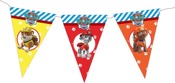 Paw Patrol Happy Birthday Banner Party Flags Printable Theme