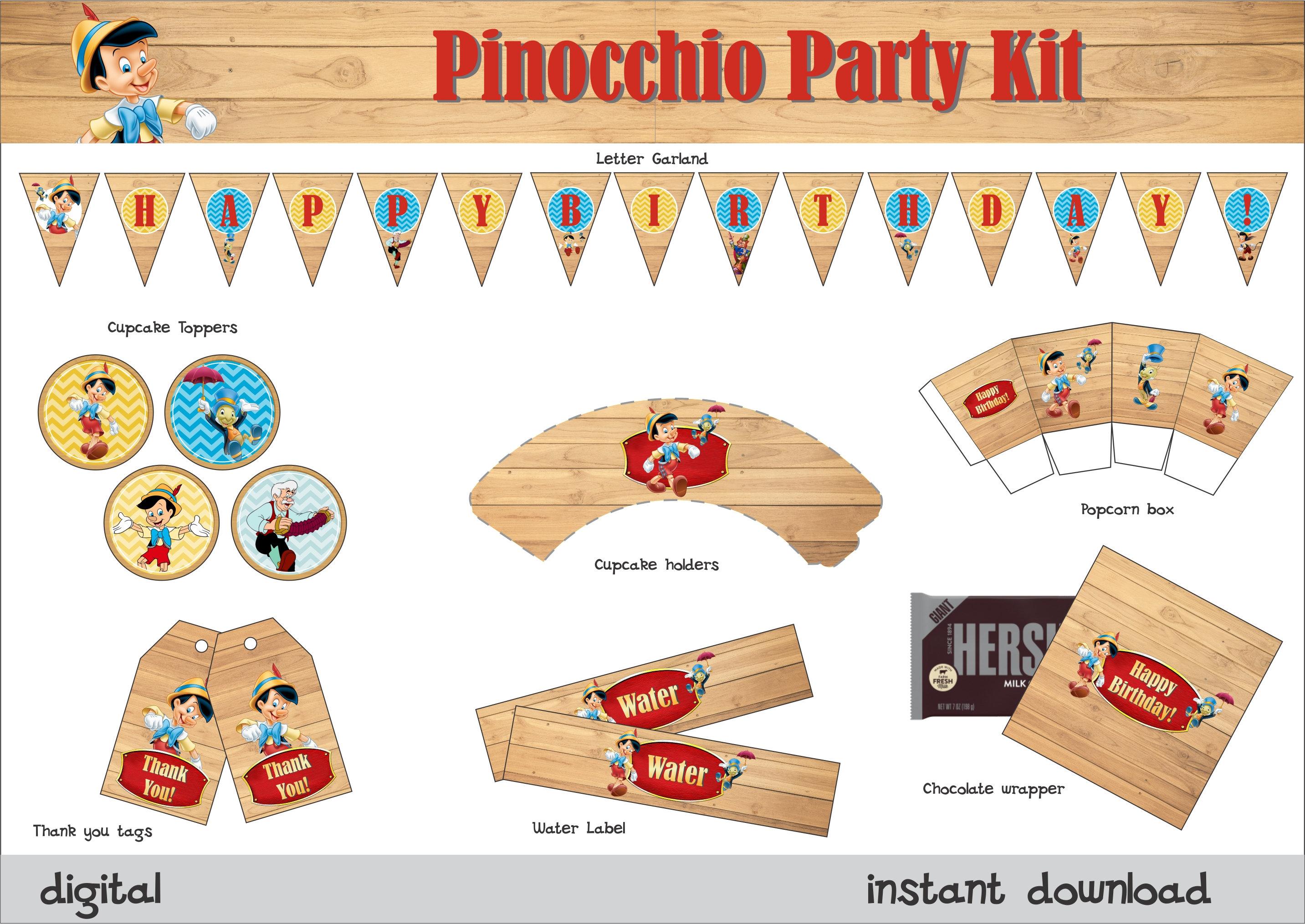 Pinocchio Party Printable Kit Pinocchio Party Pinocchio Etsy