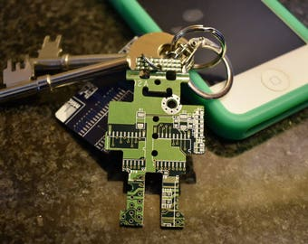 Green Robot Circuit Board Keychain / Key fob - Father's Day Gift - Father Day Present - Geek Present - Computer Nerd Gifts - Tech Accessory