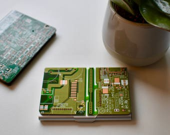 Circuit board etsy circuit board business card holder card case fathers day gifts computer programmer gift colourmoves