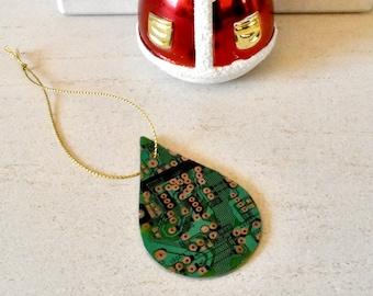 Circuit Board Christmas Decoration - Teardrop - Xmas Tree Ornament - Holiday Gifts - Eco Friendly Festive Decor - Tech Accessories