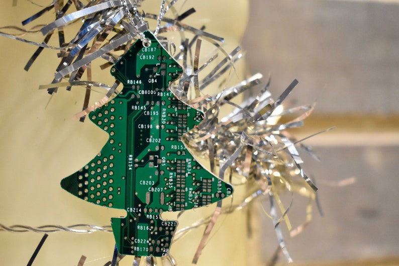 Circuit Board Christmas Tree Decoration Tree Star Snowman Computer Geek Gifts Tech Accessories Stocking Fillers Geeky Secret Santa