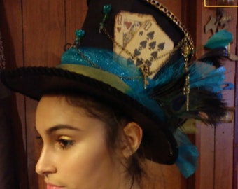 92d62e62 Mad hatter full size top hat, Victorian style mad hatter top hat