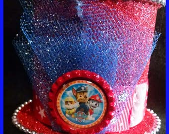 Mini mad hatter top hat featuring Paw Patrol