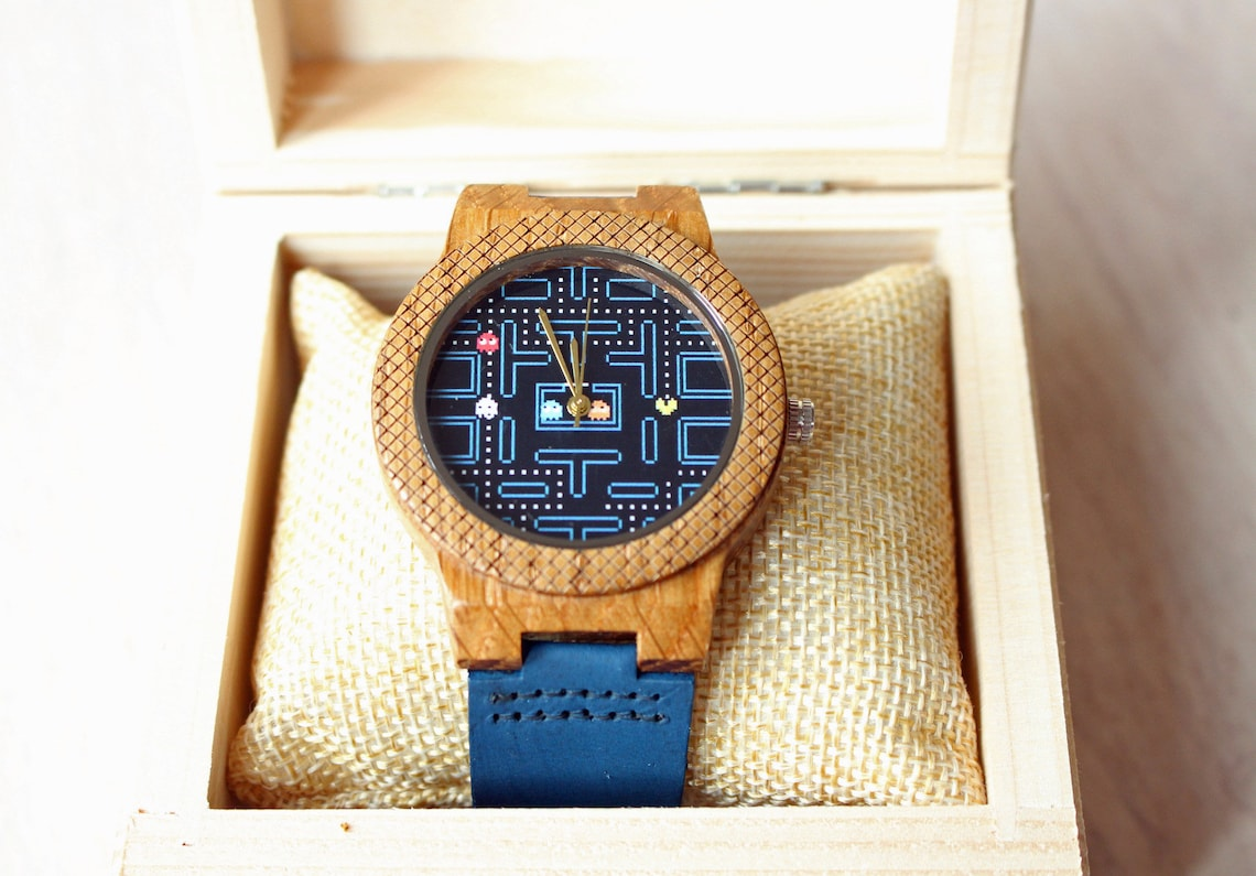 Wooden Pac-Man Watch with engraving