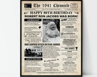 Personalized 1941 80th Birthday back in 1941 NEWSPAPER Poster or Placemat DIGITAL or PRINTED