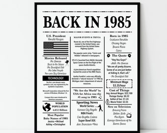 1985 A Year in History Birthday Fun Facts Sign Hang or Stand Great Gift NEW A36