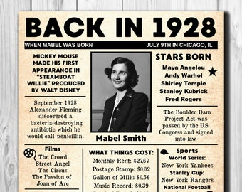 Personalized 90th Birthday NEWSPAPER Poster, 1928 Facts DIGITAL FILE