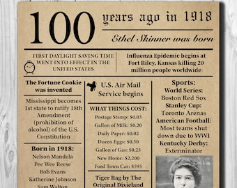 Personalized 100th Birthday 1918 NEWSPAPER Poster, Facts DIGITAL FILE