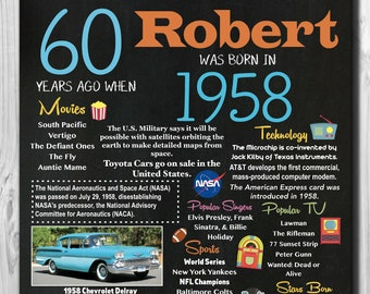 """Personalized 60th Birthday Chalkboard Poster, 1958 Facts DIGITAL FILE 16x20"""", 8x10"""""""
