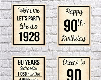 90th Birthday 1928 Signs, OLD PAPER 90th Birthday DIGITAL Posters, Let's Party, Happy 90th Birthday, Cheers to 90 Years, 90 Years Ago
