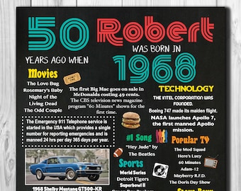 """Personalized 50th Birthday Chalkboard Poster, 1968 Facts DIGITAL FILE 16x20"""", 8x10"""""""