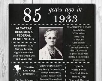Personalized 85th Birthday Chalkboard Poster, 1933 Facts DIGITAL FILE