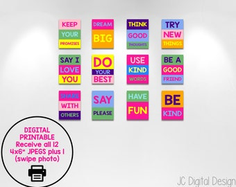 Inspirational Quotes, Colorful Wall Decor, Kids Room Decoration, Classroom  Decor, INSTANT DOWNLOAD