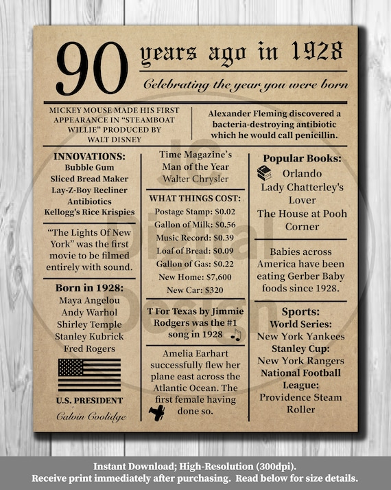 90th Birthday NEWSPAPER Poster 1928 Facts 16X20 | Etsy