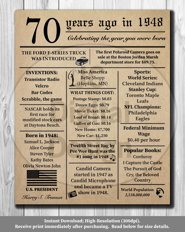 70er Jahre Geburtstag Zeitung Poster 1948 Fakten 16 x | Etsy