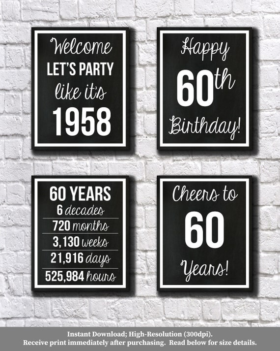 60th birthday black and white 1958 signs 60th birthday etsy