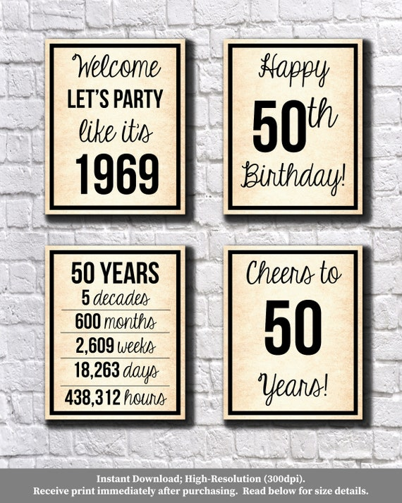 image relating to 50th Birthday Signs Printable titled 50th Birthday Previous Paper 1969 Signs and symptoms, 50th Birthday Electronic Posters, Allows Celebration, Satisfied 50th Birthday, Cheers in the direction of 50 Decades, 50 Yrs Back, 8x10\