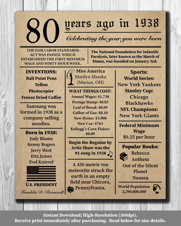 80. Geburtstag Zeitung Poster 1938 Fakten 16 x 20 8 x | Etsy
