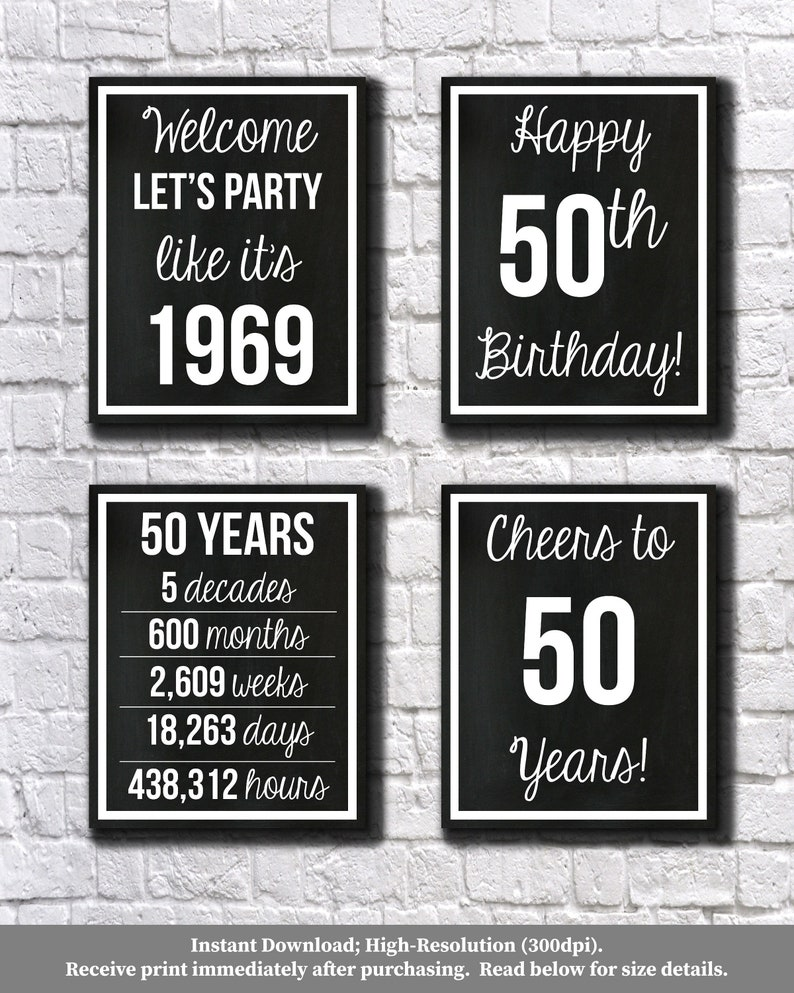 photo about Free Printable 50th Birthday Signs called 50th Birthday Black and White 1969 Signs or symptoms, 50th Birthday Electronic, Allows Celebration, Delighted 50th Birthday, Cheers towards 50 Yrs, 50 Yrs In the past, 8x10\