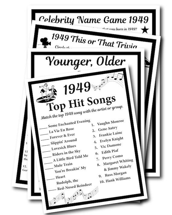 1949 Birthday Trivia Game 1949, Birthday Parties, Instant Download