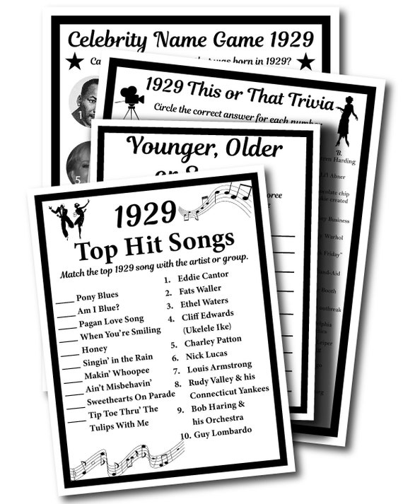 1929 Birthday Trivia Game 1929, Birthday Parties, Instant Download