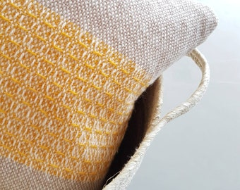 Handwoven pillow - cushion // 100 % sheep wool and linen //Nude with mustard yellow detail // Including insert