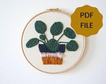 DIGITAL Punch Needle Pattern - Pilea plant - PDF