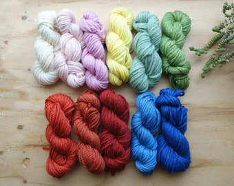 Custom Rug wool Fiber Pack - 100% virgin wool - choose your own 4 colors