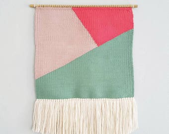 Woven Wall Hanging, geometric design with, minty sea green, dusty pink and neon pink. Colorful pattern, ivory fringe. Ready to ship!