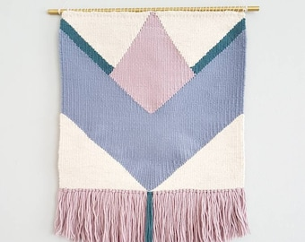 Woven Wall Hanging, geometric design with soft blue, lilac and a touch sea blue. Colorful pattern. Ready to ship!
