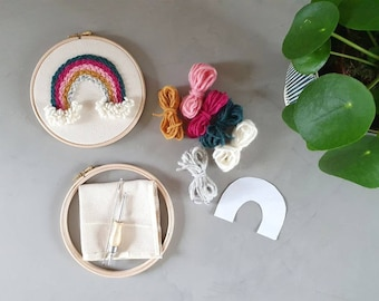 Rainbow punch needle kit - fun kids project - rug hooking - embroidery hoop - natural materials - nursery