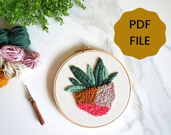 DIGITAL Punch Needle Pattern - Succulent - PDF