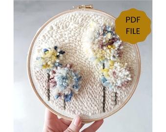 DIGITAL Punch Needle Pattern - Fantasy Flowers - PDF