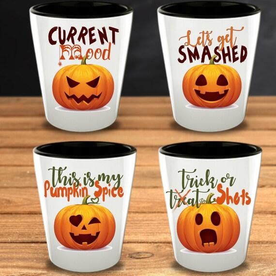 Halloween Gifts Shot Glasses Pumpkins Hostess Funny Gift Set Etsy