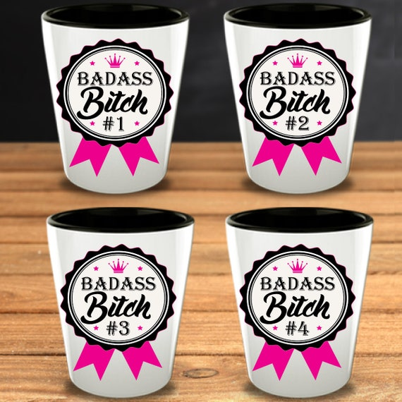 Christmas Present Ideas For Best Friends Girl.Badass Bitch Galentines Funny Gifts Funny Shot Glasses Badass Gift Best Friends Gifts Girl Gang Female Friendships Valentine Gift