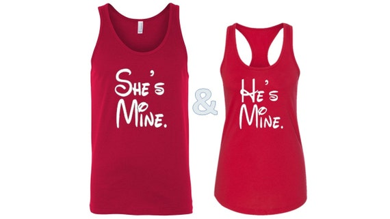 Couple Tank Tops Hes Mine Shes Mine Matching Tanks Couples Etsy