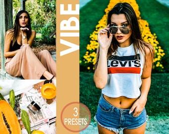 3 VIBE Presets - lightroom preset, indoor preset, outdoor preset, photo editing, color booster, vibrant preset, best preset, bright colours