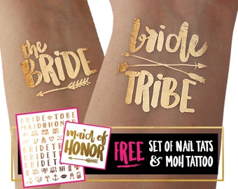 Bachelorette party tattoos   bachelorette tattoos, bride tribe tattoos, bachelorette tattoo, bridesmaid gifts, gold foil tattoos, hen do