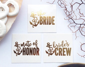 Bride's Crew Tattoos for Nautical themed Bach Party's / Yacht parties / Anchor tattoo / Boat party / Party boats for Bachelorette / Bridal