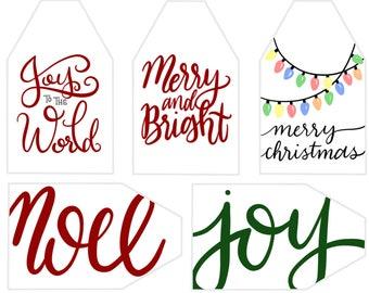 8 full color Christmas tags